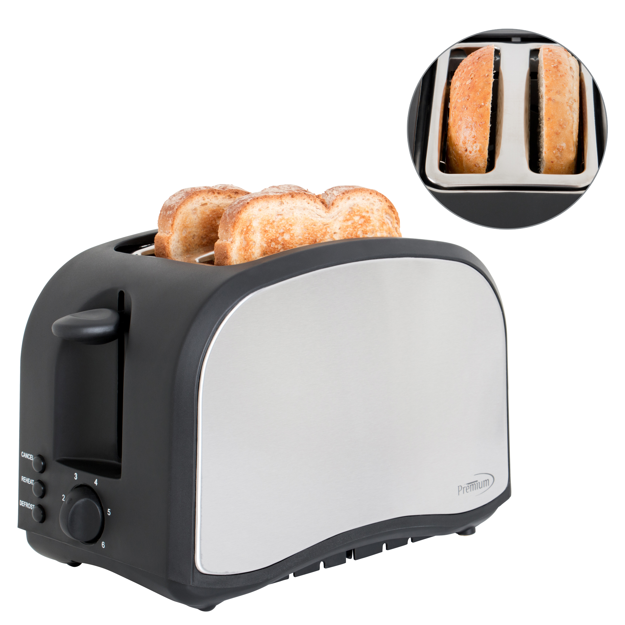 Premium Appliances 2 Slice Toaster Stainless Steel